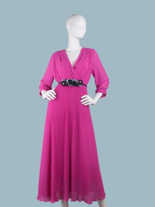 Платье  шифоновое длинное с запахом  фуксия
