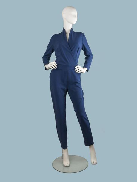 Синий брючный вечерний комбинезон с длинными рукавами
