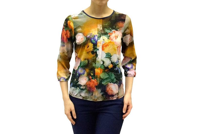 Блузка нарядная зеленая с цветами 100103
