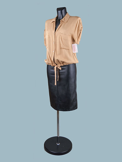 Летняя короткая блузка с коротким рукавом бежевая