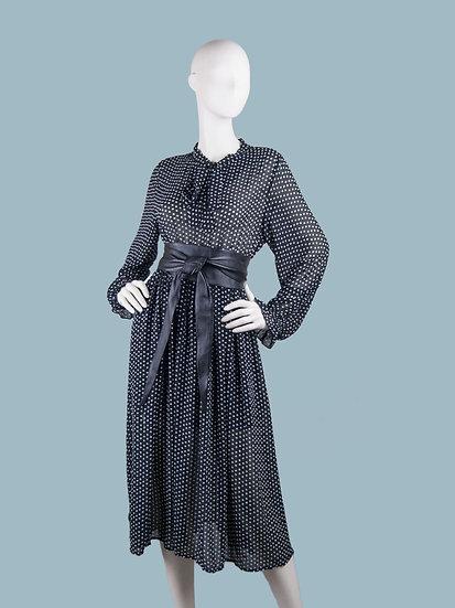 Шифоновое платье на подкладке в горох черное