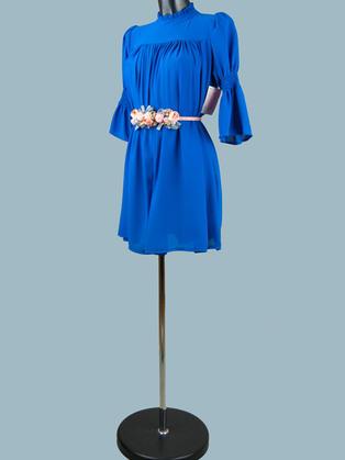 Платье  шифоновое мини ярко-синее