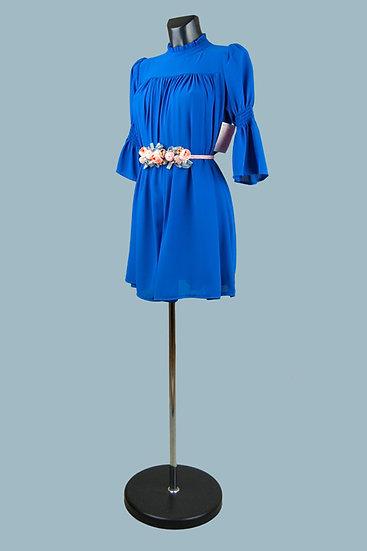 Шифоновое платье мини ярко-синее.Италия. Размер: 42-48