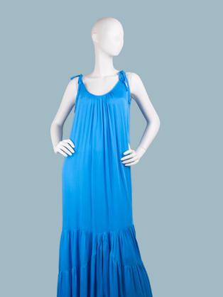 Нарядное длинное платье- сарафан голубое