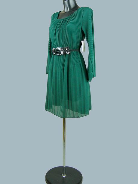 Платье  шифоновое расклешенное зеленое 2156