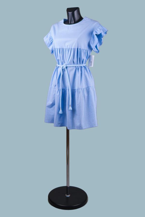 Платье расклешенное с воланами голубое