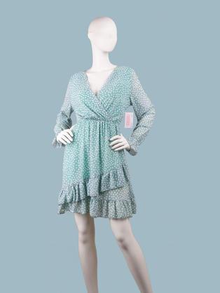 Платье  шифоновое  с запахом  салатовое в горох