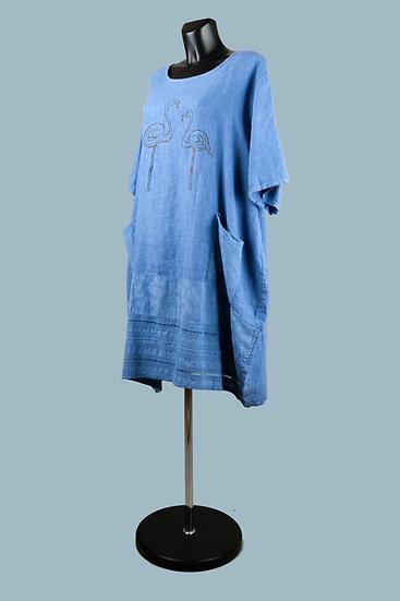 Летнее льняное платье большого размера. Италия. Размер: 50-54.