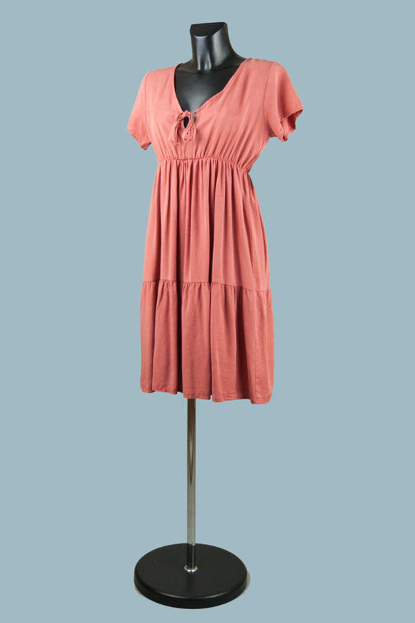 Платье с завышенной талией терракот