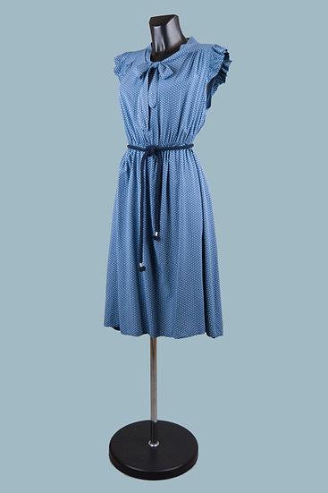 Летнее платье с бантомв горошек джинсовое. Италия. Вискоза. Размер: 42-48