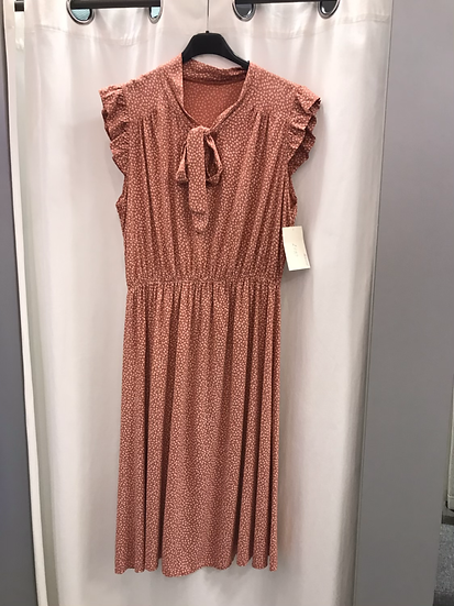 Платье в мелкий цветочек коралловое  22911010