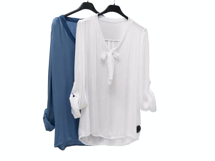 Блузка с бантом длинный рукав 1635