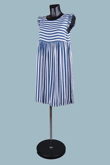Летнее платье мини в синюю полоскув синюю полоску. Италия. Вискоза. Размер: 42-46