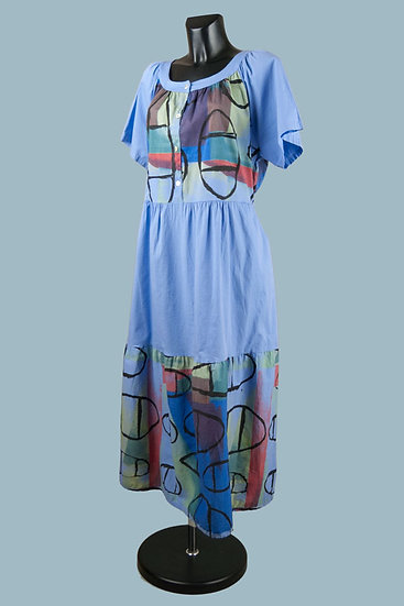 Летнее платье бохо голубое. Хлопок.Польша.Размер: 50-54