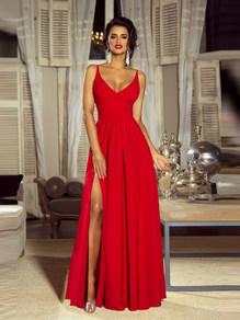 Вечернее платье в пол красное 1758