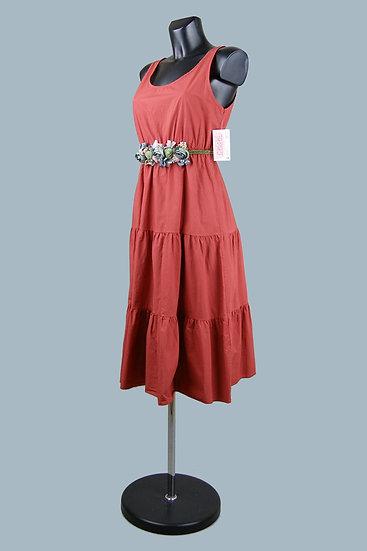 Платье миди терракотовое.. Италия. 95% хлопок,5% эластан. Размер: 42-48