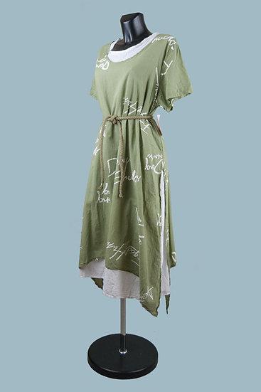 Летнее платье в стиле бохо.Двойное. Цвет: хаки. Размер: 48-52. Хлопок.