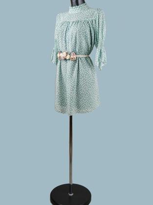 Платье  шифоновое мини мятное в горошек