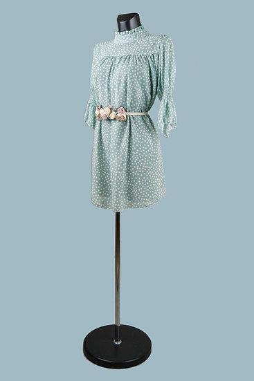 Шифоновое платье мини мятное в горошек.Италия. Размер: 42-46