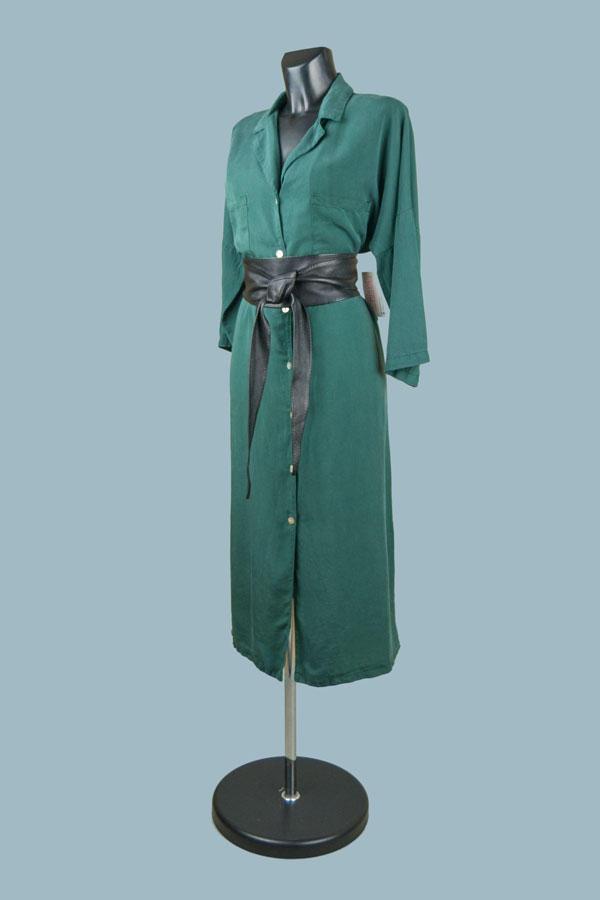 Платье-халат макси  зеленое 2085