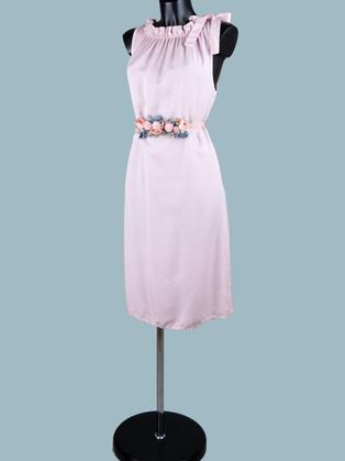Платье  миди  розовое с бантом