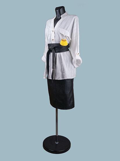 Блуза удлиненная расклешенная белая | chichi