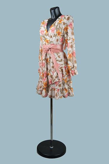 Шифоновое платье на подкладке с запахом кремовоес цветами . Италия. Размер: 42-48