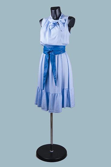 Летнее платье с бантом голубое. Италия. Лиоцелл. Размер: 46-50