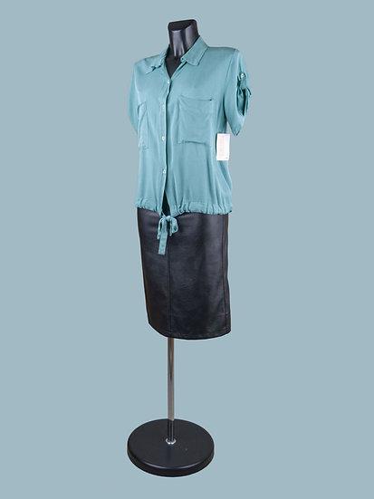 Летняя короткая блузка с коротким рукавом мятная