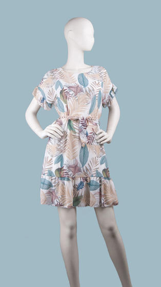 Платье  шифоновое мини с тропическим рисунком светлое
