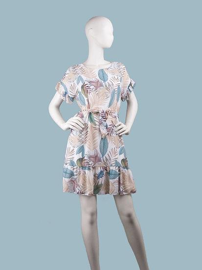 Шифоновое платье мини с тропическим рисунком светлое.Италия. Размер: 42-48