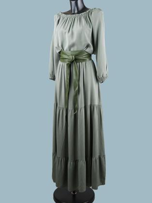 Платье с длинным рукавом хаки