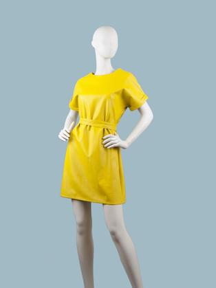 Платье  кожаное желтое 25070810