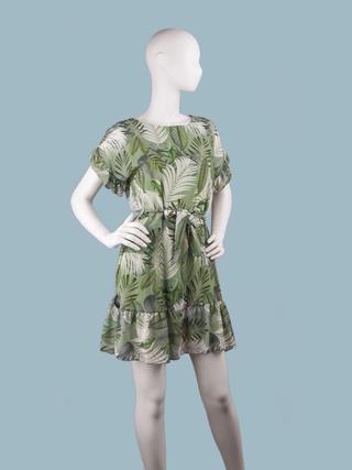 Платье  шифоновое мини с тропическим рисунком зеленое