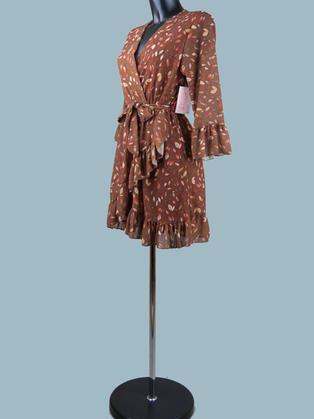 Платье мини шифоновое с запахом коричневое