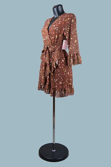 Шифоновое платье на подкладке с запахом коричневое. Италия. Размер: 42-46