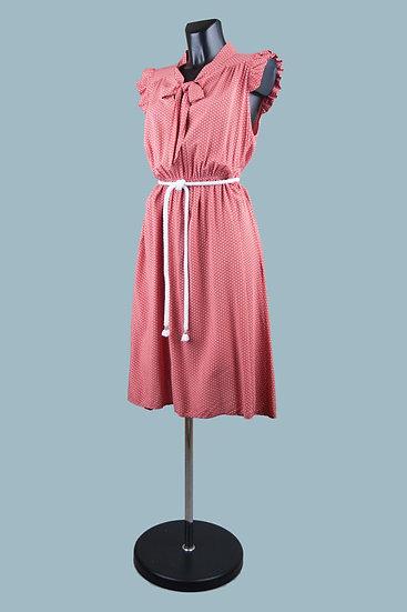 Летнее платье с бантомв горошек терракотовое. Италия. Вискоза. Размер: 42-48