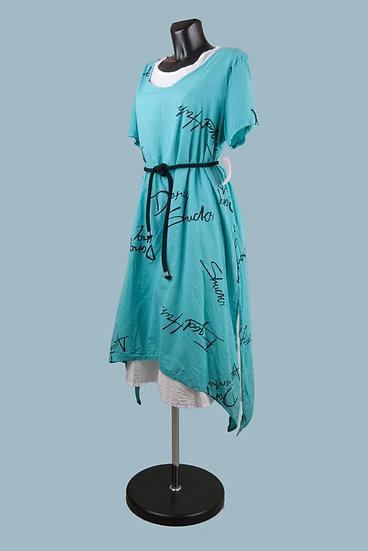 Летнее платье в стиле бохо голубое.Двойное. Размер: 48-52. Хлопок