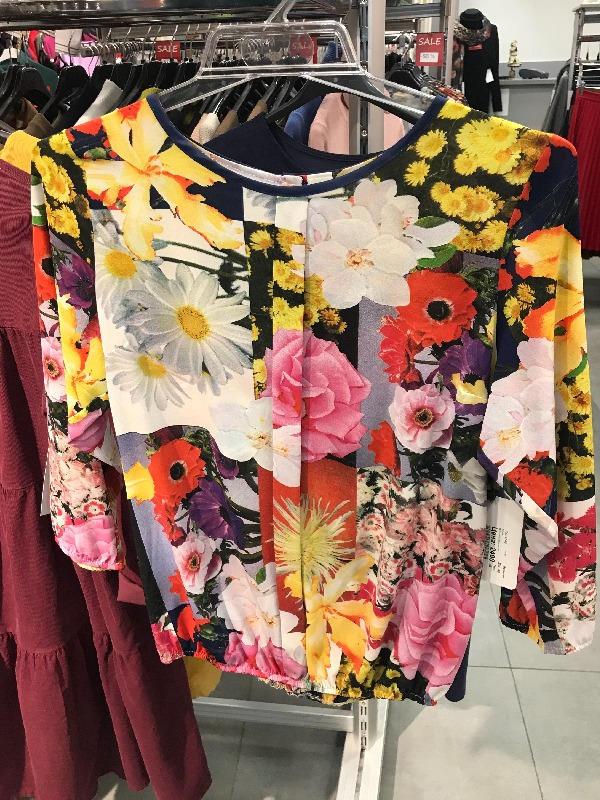 Нарядная блузка яркая с цветами 100145