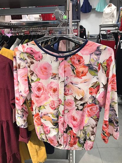 Нарядная блузка в розовых тонах с рисунком 100142