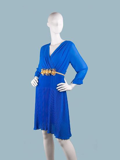 Шифоновое платье миди на подкладке с запахом ярко- синее с гофрированной юбкой и поясом . Италия. Размер: 42-48