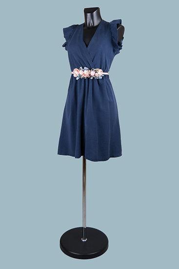 Летнее нарядное платье с вырезом-запах синее. Размер: 42-50. Италия. 100% лиоцелл