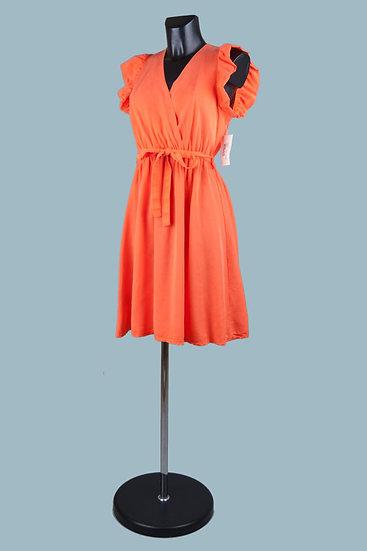 Летнее нарядное платье с вырезом-запах оранжевое. Размер: 42-50. Италия. 100% лиоцелл