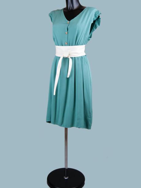 Платье летнее на пуговицах мятное