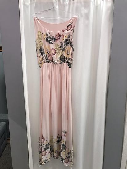 Платье длинное розовое с цветочным рисунком