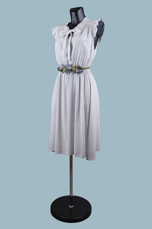 Летнее платье с бантомв мелкий цветочек белое. Италия. Вискоза. Размер: 42-48