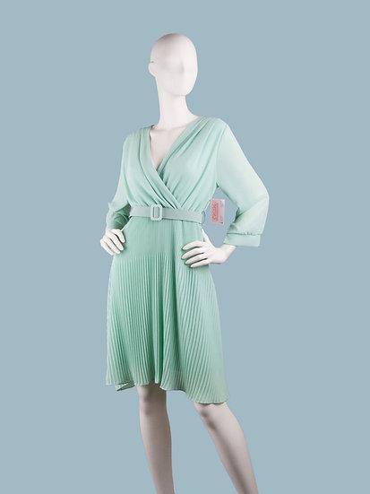 Шифоновое платье миди на подкладке с запахом мятное с гофрированной юбкой и поясом . Италия. Размер: 42-48