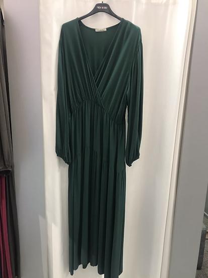 Платье свободное с запахом зеленое