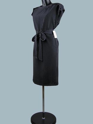 Платье офисное черное в полоску