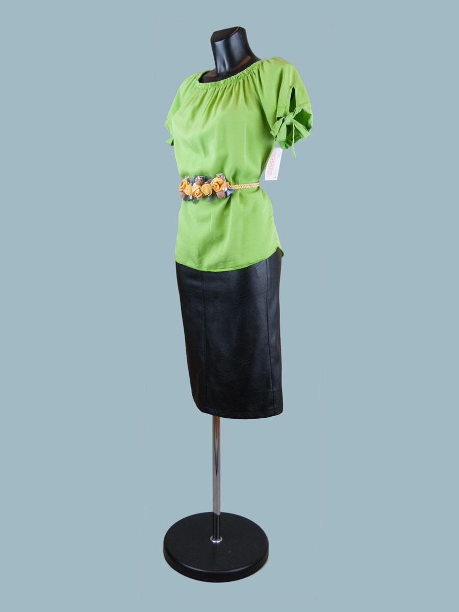 Летняя блузка с коротким рукавом ярко салатовая